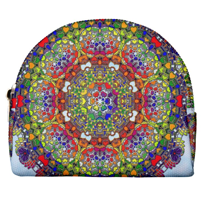 Mandala Pattern Ornaments Structure Horseshoe Style Canvas Pouch