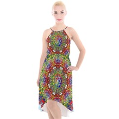 Mandala Pattern Ornaments Structure High Low Halter Chiffon Dress