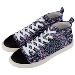 Background Kaleidoscope Abstract Men s Mid Top Canvas Sneakers by Simbadda