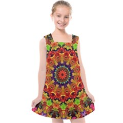 Fractal Mandala Flowers Kids  Cross Back Dress