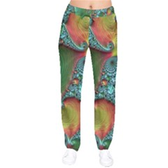 Fractal Art Colorful Pattern Velvet Drawstring Pants