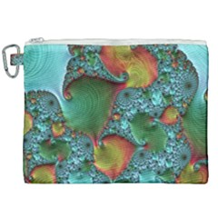 Fractal Art Colorful Pattern Canvas Cosmetic Bag (xxl) by Simbadda