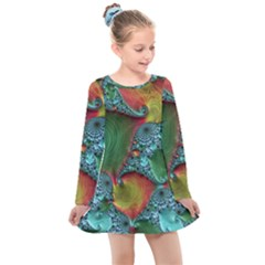 Fractal Art Colorful Pattern Kids  Long Sleeve Dress