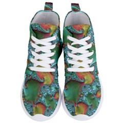 Fractal Art Colorful Pattern Women s Lightweight High Top Sneakers by Simbadda