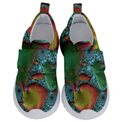 Fractal Art Colorful Pattern Velcro Strap Shoes by Simbadda