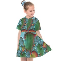 Fractal Art Colorful Pattern Kids  Sailor Dress
