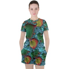 Fractal Art Colorful Pattern Women s Tee And Shorts Set by Simbadda