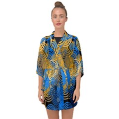 Circle Rings Abstract Optics Half Sleeve Chiffon Kimono by Simbadda