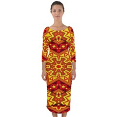 Kaleidoscope Mandala Recreation Quarter Sleeve Midi Bodycon Dress by Simbadda