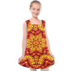 Kaleidoscope Mandala Recreation Kids  Cross Back Dress