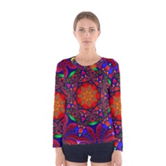 Kaleidoscope Mandala Pattern Women s Long Sleeve Tee