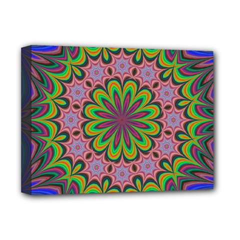 Floral Fractal Star Render Deluxe Canvas 16  X 12  (stretched)  by Simbadda