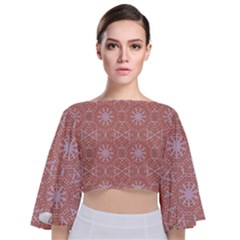 Vintage Abstract Background Mandala Tie Back Butterfly Sleeve Chiffon Top