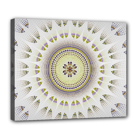 Mandala Fractal Decorative Deluxe Canvas 24  X 20  (stretched) by Simbadda