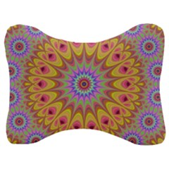 Geometric Flower Oriental Ornament Velour Seat Head Rest Cushion by Simbadda