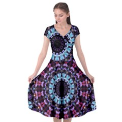 Kaleidoscope Shape Abstract Design Cap Sleeve Wrap Front Dress by Simbadda