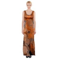 Circle Rings Abstract Optics Maxi Thigh Split Dress by Simbadda