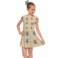 Pop Art  Bee Pattern Kids Cap Sleeve Dress by Valentinaart