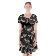 Vintage Halloween Bat Pattern Short Sleeve V Neck Flare Dress