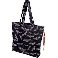 Vintage Halloween Bat Pattern Drawstring Tote Bag by Valentinaart