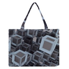 3d Cube Fantasy Square Shape Zipper Medium Tote Bag