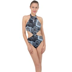 3d Cube Fantasy Square Shape Halter Side Cut Swimsuit by Simbadda