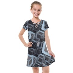 3d Cube Fantasy Square Shape Kids  Cross Web Dress