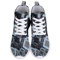 3d Cube Fantasy Square Shape Women s Lightweight High Top Sneakers