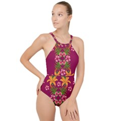 Blossom Yellow Flower Yellow Summer High Neck One Piece Swimsuit