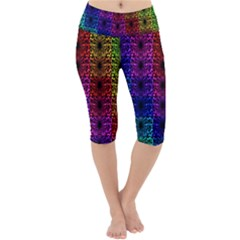 Rainbow Grid Form Abstract Lightweight Velour Cropped Yoga Leggings by Simbadda
