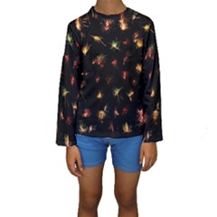 Fireworks Christmas Night Dark Kids  Long Sleeve Swimwear by Simbadda