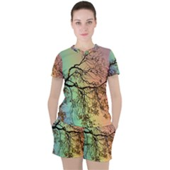 Rainbow Branch Boxer Shorts Women s Tee And Shorts Set