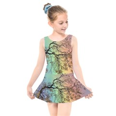 Rainbow Branch Boxer Shorts Kids  Skater Dress Swimsuit by Simbadda