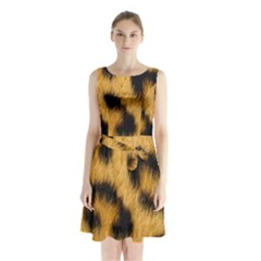 Animal Print Leopard Sleeveless Waist Tie Chiffon Dress by NSGLOBALDESIGNS2