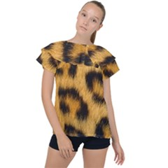 Animal Print Leopard Ruffle Collar Chiffon Blouse