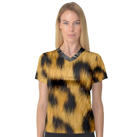 Animal Print 3 V-neck Sport Mesh Tee by NSGLOBALDESIGNS2