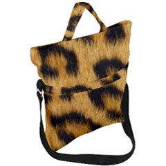 Leopard Print Fold Over Handle Tote Bag