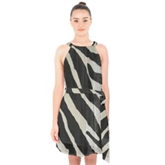 Zebra Print Halter Collar Waist Tie Chiffon Dress by NSGLOBALDESIGNS2