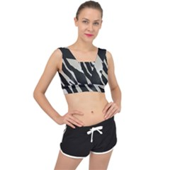 Zebra Print V Back Sports Bra by NSGLOBALDESIGNS2