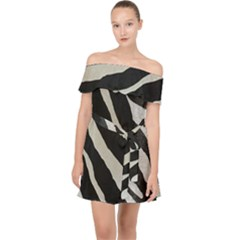 Zebra Print Off Shoulder Chiffon Dress by NSGLOBALDESIGNS2