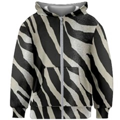 Zebra Print Kids Zipper Hoodie Without Drawstring by NSGLOBALDESIGNS2