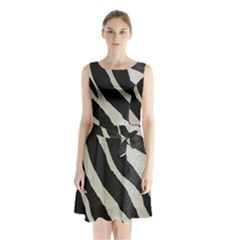 Zebra Print Sleeveless Waist Tie Chiffon Dress by NSGLOBALDESIGNS2
