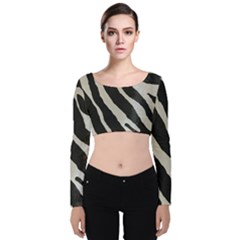 Zebra Print Velvet Long Sleeve Crop Top by NSGLOBALDESIGNS2