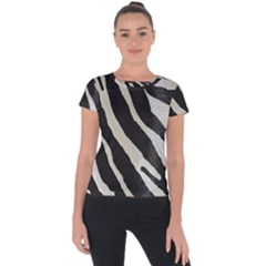 Zebra Print Short Sleeve Sports Top  by NSGLOBALDESIGNS2