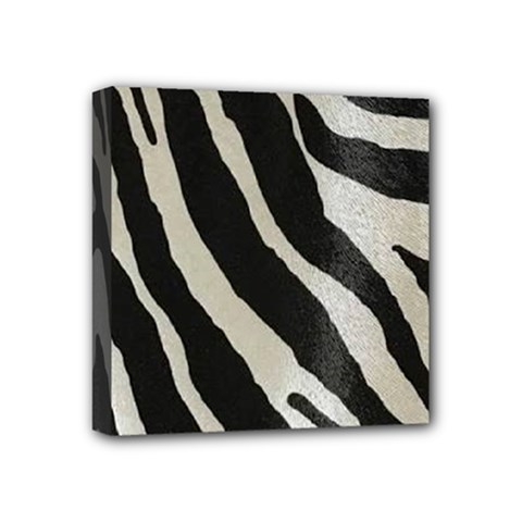 Zebra Print Mini Canvas 4  X 4  (stretched) by NSGLOBALDESIGNS2