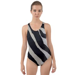 Zebra Print Cut Out Back One Piece Swimsuit