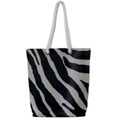 Zebra Print Full Print Rope Handle Tote (small) by NSGLOBALDESIGNS2