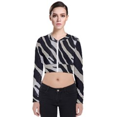 Zebra Print Zip Up Bomber Jacket