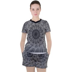Sunflower Print Women s Tee And Shorts Set