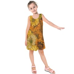 Yellow Zinnias Kids  Sleeveless Dress